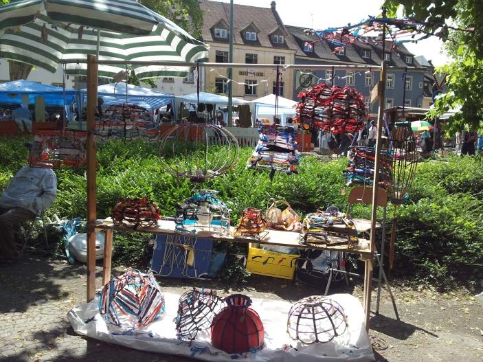 My lampshade stall at Konstanz fleamarket